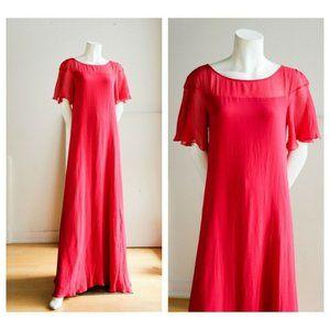 NWOT Max Mara Raspberry Pink Silk Chiffon Short Sleeve A Line Evening Gown SZ 8